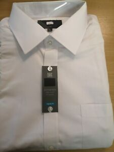 EX-M&S New PolyCotton  MENS WHITE SHIRT LONG Sleeve Casual Work