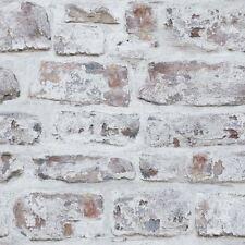 WHITEWASHED WALL BRICK WALLPAPER - WHITE - ARTHOUSE 671100