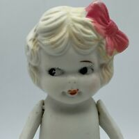 "Vintage 7"" All Bisque With Bow Jointed Arms Japan Flirt Eyes Flapper"