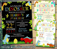 10 Personalised Kids Party Invitations Boys Girl Invites Party Like A Dinosaur