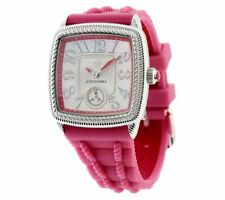 JUDITH RIPKA PINK SILICONE AND STAINLESS STEEL ADJUSTABLE WATCH QVC $107