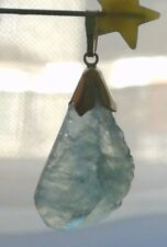 Solid 9ct Gold natural 18cts rough Brazil aquamarine pendant only No necklace