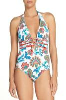 Tommy Bahama Fira Floral Plunge Halter One Piece Swimsuit 6 TSW11227P