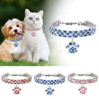 Pet Cat Dog Rhinestone Collar With Paw Pendant For Kitten Chihuahua Necklace NEW
