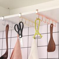 6 Hooks Kitchen Hook Mug Cup Holder Under Shelf Hanger Cupboard Storage Rack