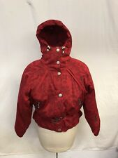 NILS Girls Vibrant Aztec Design Red Belted SKI Jacket Coat Puffy Size 14