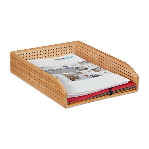 Dokumentenablage Schreibtischablage Bambus Briefablage Holz stapelbar Büro A4