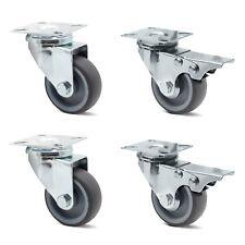 2x Lenkrollen 50mm+2x 50mm Lenkrollen mit Bremse Transportrollen Möbelrollen