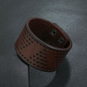 Punk Mens Wide Brown Leather Bangle Bracelet Wristband Cool Cuff Wrap Jewelry