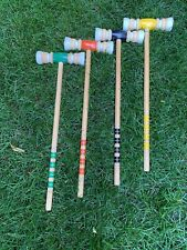 """4 Vintage Sportcraft Solid Wooden Croquet Replacement Mallets 25"""""""