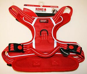 Kong Control Adjustable Reflective Red Dog Harness with handle size Large