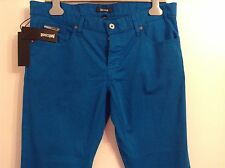 BNWT 100% Auth Just Cavalli, Mens Cobalt Blue Luxury Slim Fit Jeans With Logo 34