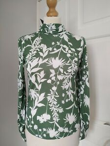 New M&S 6 Green White Floral Roll Neck Long Sleeved Top T Shirt Bnwt