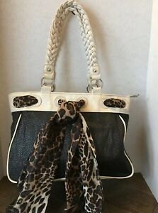 Apt 9 Large Purse Handbag Tote Black Woven Raffia/Soft White/Animal Print Scarf!