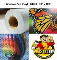 "Perforated 30"" x 100' High Performance Eco-Solvent Ready Window Vinyl 60/40 Roll"