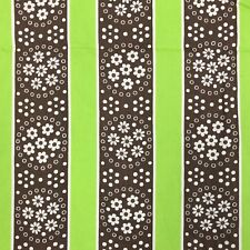"""VTG 1950s 1960s Cotton Fabric Floral Print Stripe Brown Green 35"""" x 5.25 yards"""