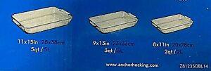 Anchor Hocking Set of 3 OVEN BASICS Rectangular Glass Baking Dishes  VALUE PACK