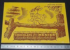 BUVARD 1950 CHOCOLATS FINS MENIER FABLES DE LA FONTAINE CHAT BELETTE LAPIN