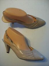 Vintage Real Snake Skin Judith Lesley Tan Slingback Pumps Shoes Size 7 8 @cLOSeT