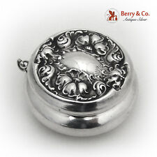 Compact Mirror Embossed Floral Sterling Silver