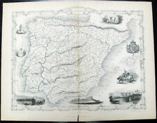 1851 TALLIS Engraving Map ~ SPAIN PORTUGAL BULL FIGHT MADRID GIBRALTAR LISBON