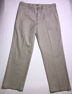 LEE Mens Total Freedom Relaxed Fit Stretch Pants Sand Flat Front W38 L32