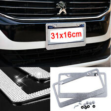 Metal License Plate Frame Bling RhineStone Chrome Crystal Diamond Glitter 2pcs