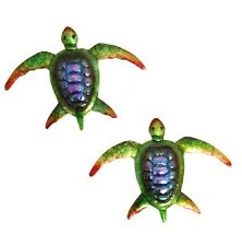 Home & Garden Colourful Metal Wall Art Wall Hanging Iridescent Turtle (set of 2)