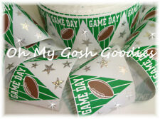 "3"" GAME DAY FOOTBALL FLAGS HOLOGRAM CHEER GROSGRAIN RIBBON 4 TIC TOC HAIRBOW BOW"