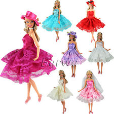 Lot 3 Random Mini Short Dresses Clothes with Hat Veil and Shoes for Barbie Doll