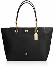 NWT COACH TURNLOCK CHAIN POLISHED PEBBLE LEATHER TOTE BAG BLACK / GOLD HARDWARE