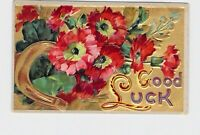 ANTIQUE POSTCARD GOOD LUCK HORSE SHOE FLOWERS EMBOSSED