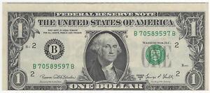 $1 1969-D Federal Reserve Note Fr#1907-B Faulty Alignment Error