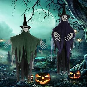 """2 Hanging Witch Skeleton Scary Props 41"""" Halloween Decorations Outdoor Clearance"""