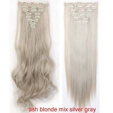 US Full Head Remy Long 8 Pieces Clip In Hair Extensions Real Thick As Human Ay1