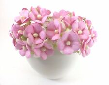 10 Miniature Pink Sweetheart Blossom Mulberry Paper Flowers Cardmaking Wedding