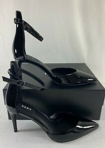 DKNY Women's Black Lace Patent Leather Ankle Strap D'Orsay Pumps Heels Size 8.5