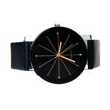 Fashion Women's Dial Date Stainless Steel Leather Band Analog Quartz Wrist Watch