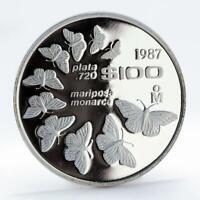 Mexico 100 pesos Monarch butterflies Fauna proof silver coin 1987
