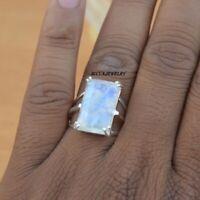 Rainbow Moonstone Solid 925 Sterling Silver Ring Meditation Ring Handmade RM 30