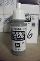ACRYLIC PAINTS  17ml BOTTLE  VAL836 	 AV Vallejo Model Color - London Grey