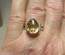 NEW 4.3 CTW CITRINE/DIAMOND 14k TWO TONE GOLD RING SZ 6