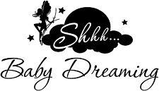 "14"" SHHH... BABY DREAMING FAIRY CLOUD STARS VINYL DECAL STICKER NURSERY"