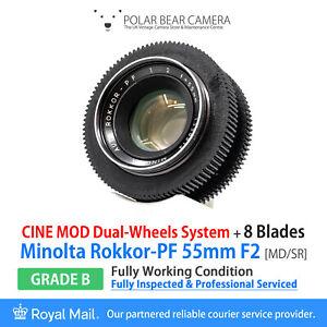 ⭐SERVICED⭐ MINOLTA 55mm F2 Rokkok-PF *8 BLADES* SR/MD CINE MOD + Caps [GRADE B]