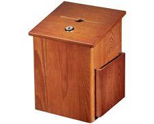 AdirOffice Medium Oak Lock With Pocket Chain Pen Mountable Wood Suggestion Box