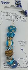Mix and Mingle Glass Metal Lined Beads, Tan and Aqua