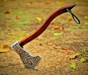 Premium Quality Viking Axe Hand Craved Norse Design Cosplay Axe Antique Look
