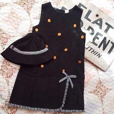 NWT Little Bitty Girls 6 Dress & Hat Corduroy Jumper Thanksgiving Pumpkins