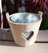 Secchio in legno motivo cuore con Vaso Fioriera in metallo 15x12cm Shabby Chic Rustico Casa