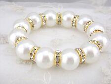 Fashion White shell Pearl Gold Crystal Rhinestone Bead Stretch Jewelry Bracelet